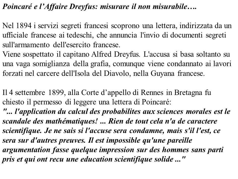 Poincaré e l'Affaire Dreyfus: misurare il non misurabile….