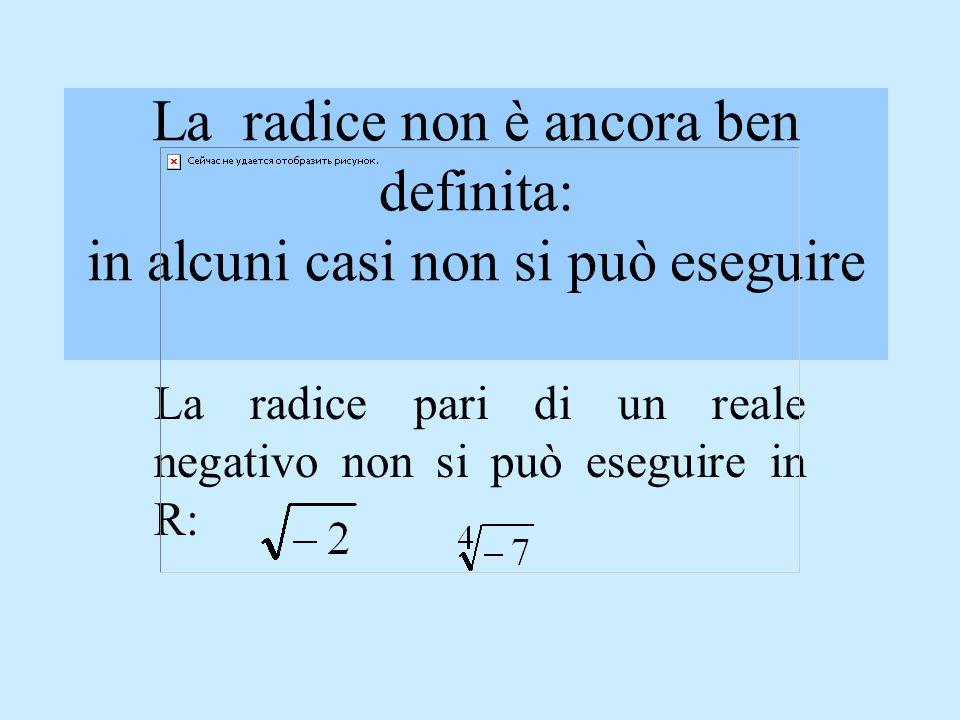 La radice pari di un reale negativo non si può eseguire in R: