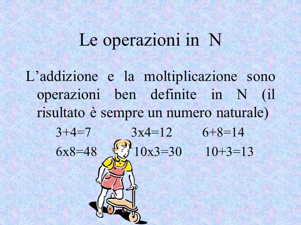 Le operazioni in N L'addizione e la moltiplicazione sono operazioni ben definite in N (il risultato è sempre un numero naturale)