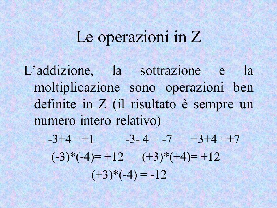 Le operazioni in Z