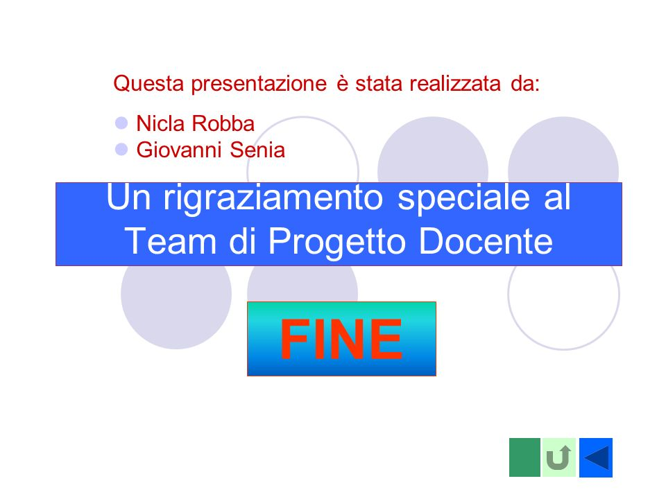 Un rigraziamento speciale al Team di Progetto Docente