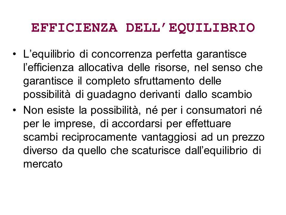 EFFICIENZA DELL'EQUILIBRIO