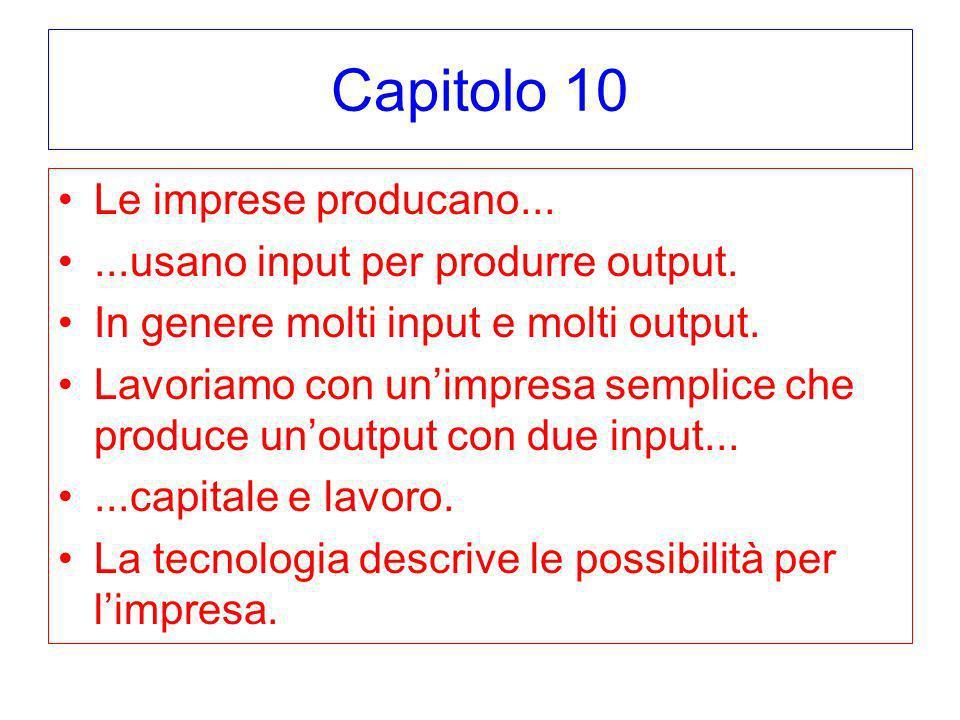 Capitolo 10 Le imprese producano...