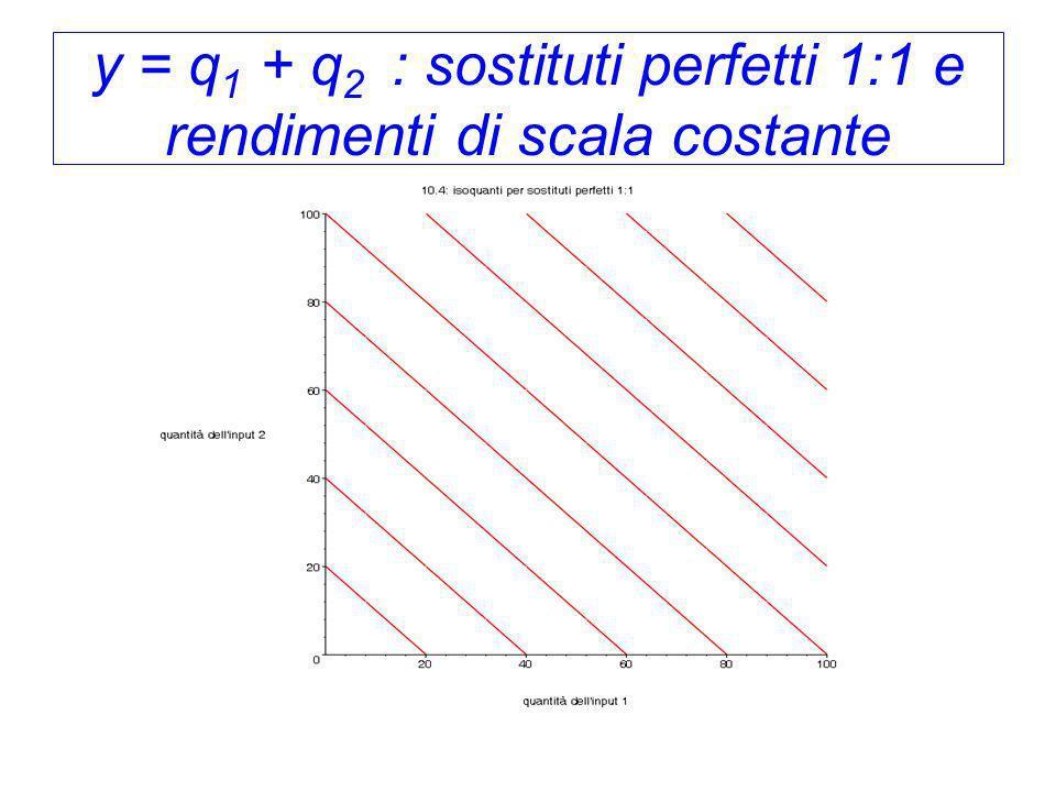 y = q1 + q2 : sostituti perfetti 1:1 e rendimenti di scala costante