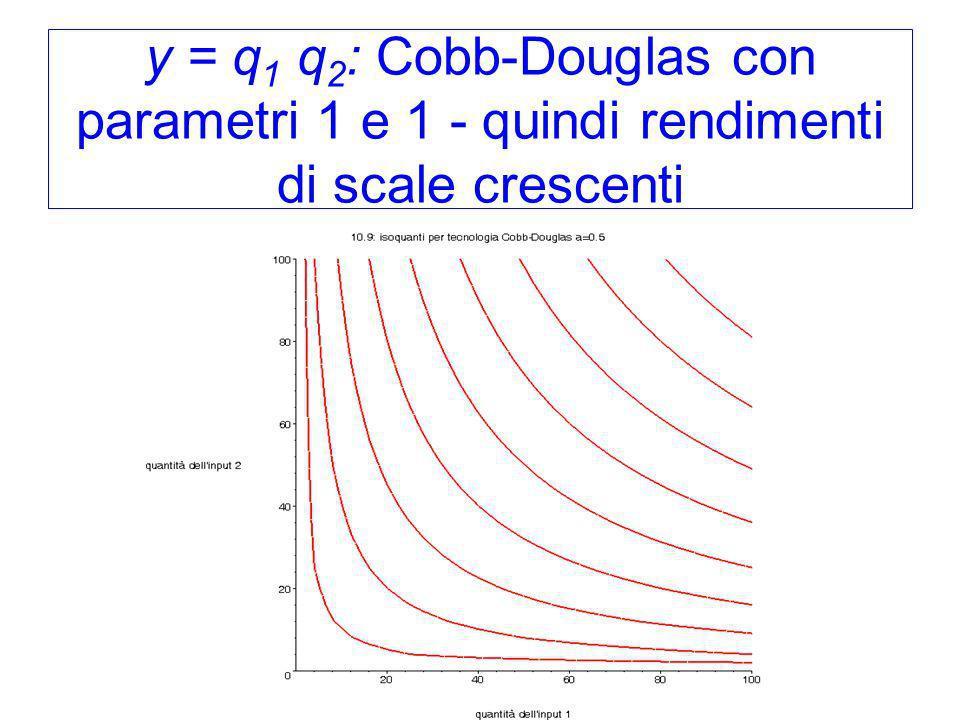 y = q1 q2: Cobb-Douglas con parametri 1 e 1 - quindi rendimenti di scale crescenti