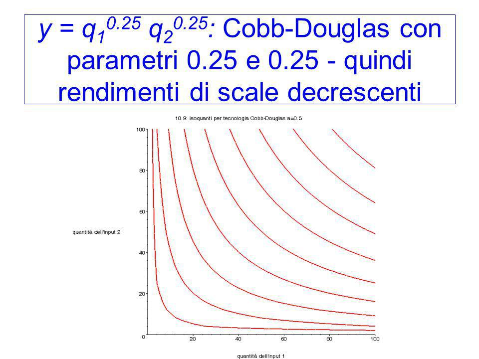 y = q10. 25 q20. 25: Cobb-Douglas con parametri 0. 25 e 0