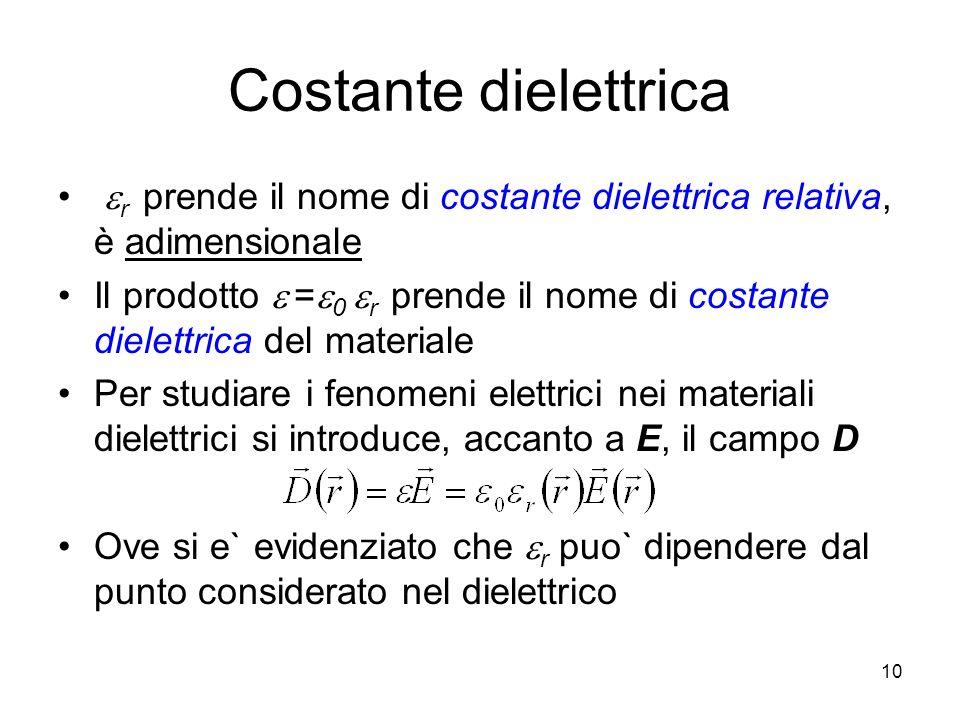 Costante dielettricaer prende il nome di costante dielettrica relativa, è adimensionale.