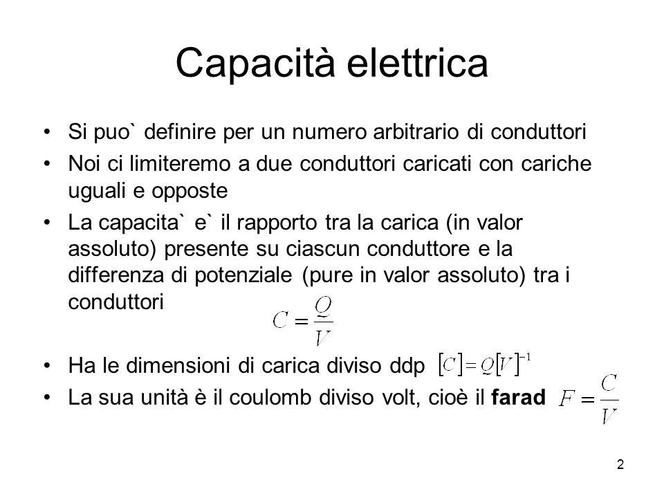 Capacità elettrica Si puo` definire per un numero arbitrario di conduttori. Noi ci limiteremo a due conduttori caricati con cariche uguali e opposte.