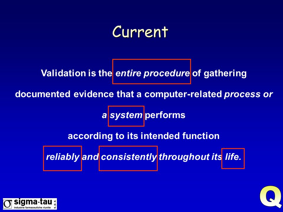 Current Validation is the entire procedure of gathering documented evidence that a computer-related process or a system performs.