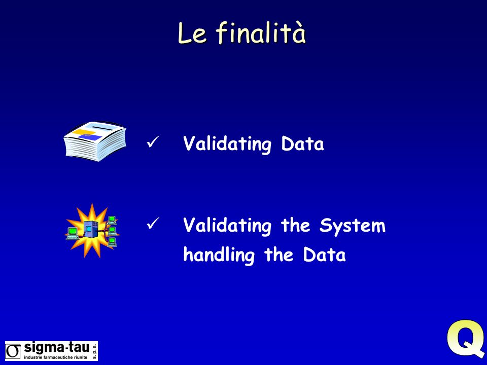 Le finalità Validating Data Validating the System handling the Data Q