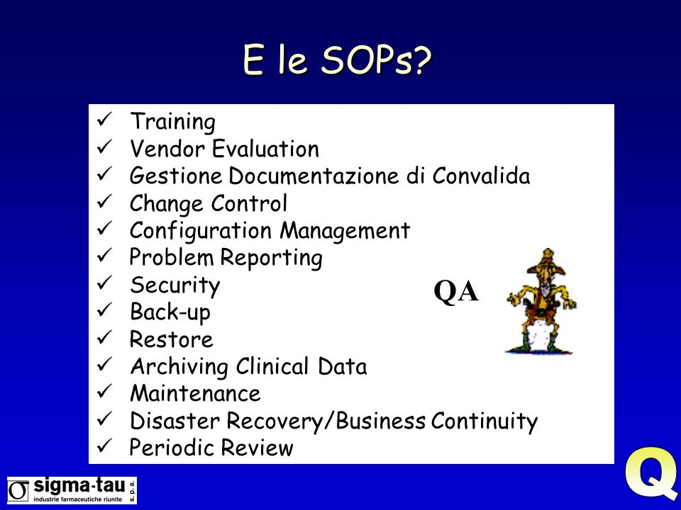 E le SOPs Q QA Training Vendor Evaluation