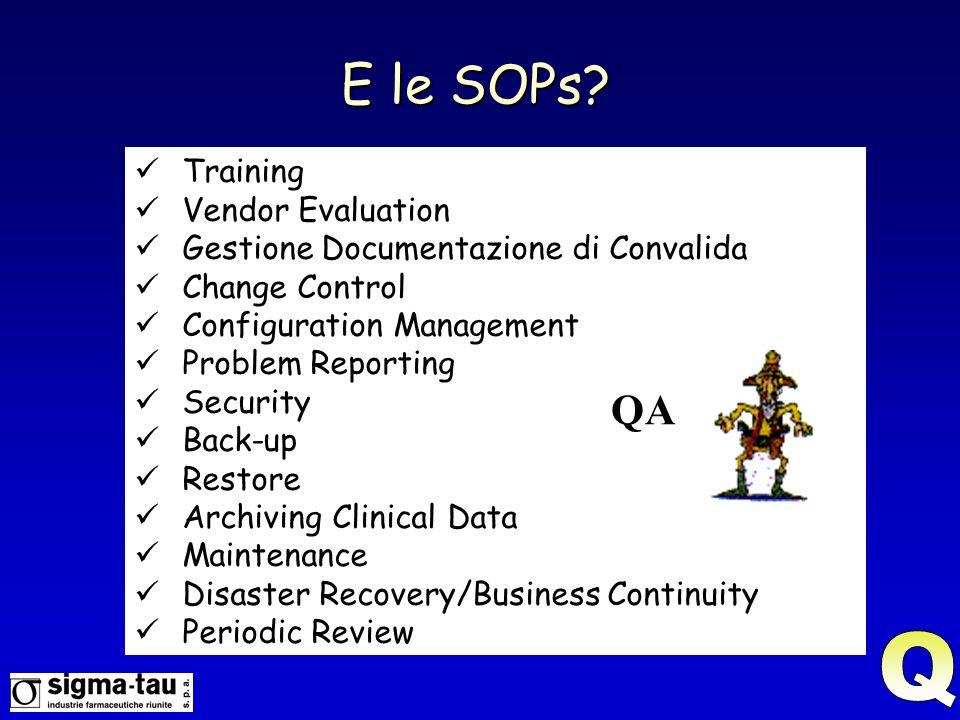 E le SOPs Q QA Training Vendor Evaluation