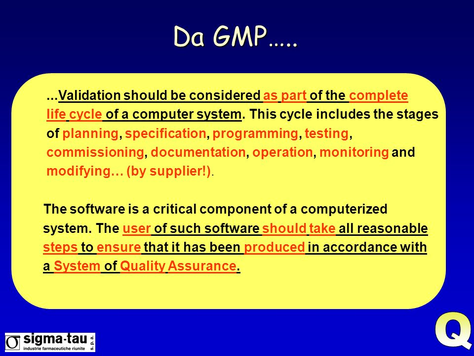 Da GMP….. Q ...Validation should be considered as part of the complete
