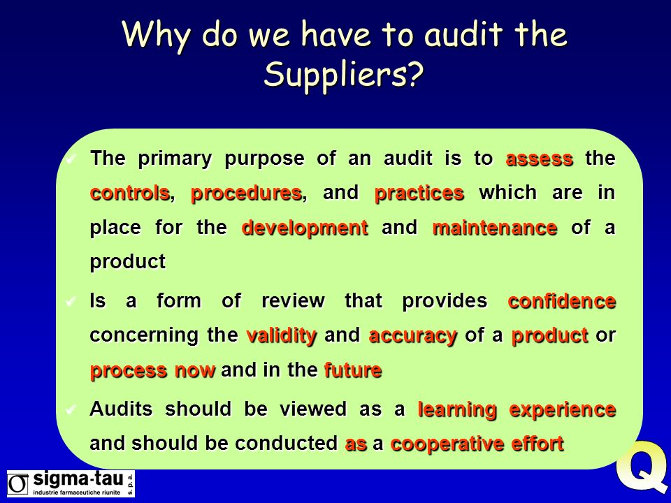 Why do we have to audit the Suppliers