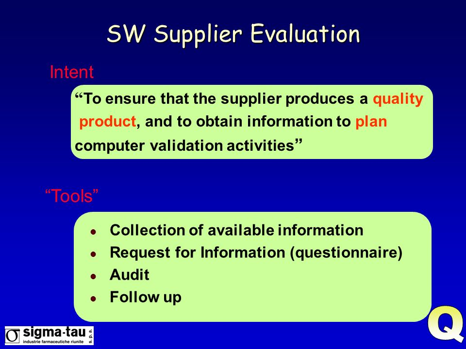 SW Supplier Evaluation