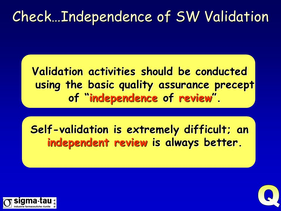 Check…Independence of SW Validation