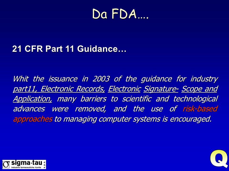 Da FDA…. Q 21 CFR Part 11 Guidance…