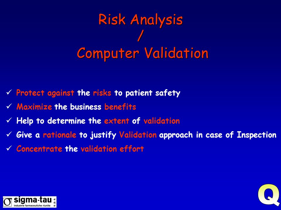 Risk Analysis / Computer Validation