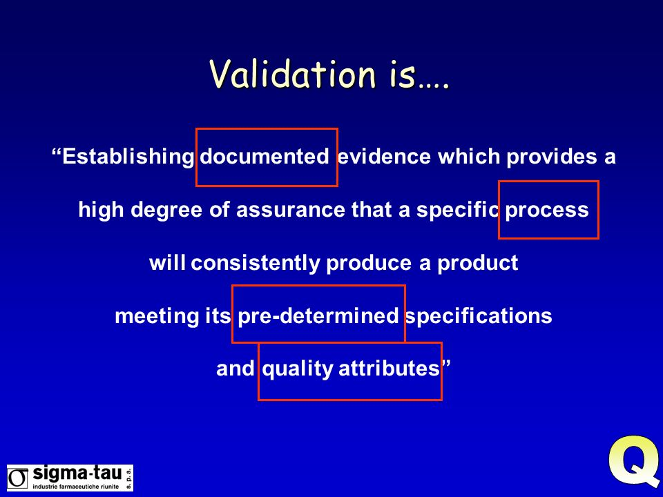 Validation is…. Q Establishing documented evidence which provides a