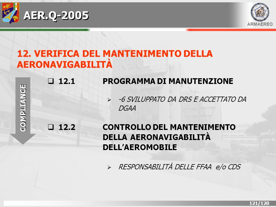 AER.Q-2005 12. VERIFICA DEL MANTENIMENTO DELLA AERONAVIGABILITÀ