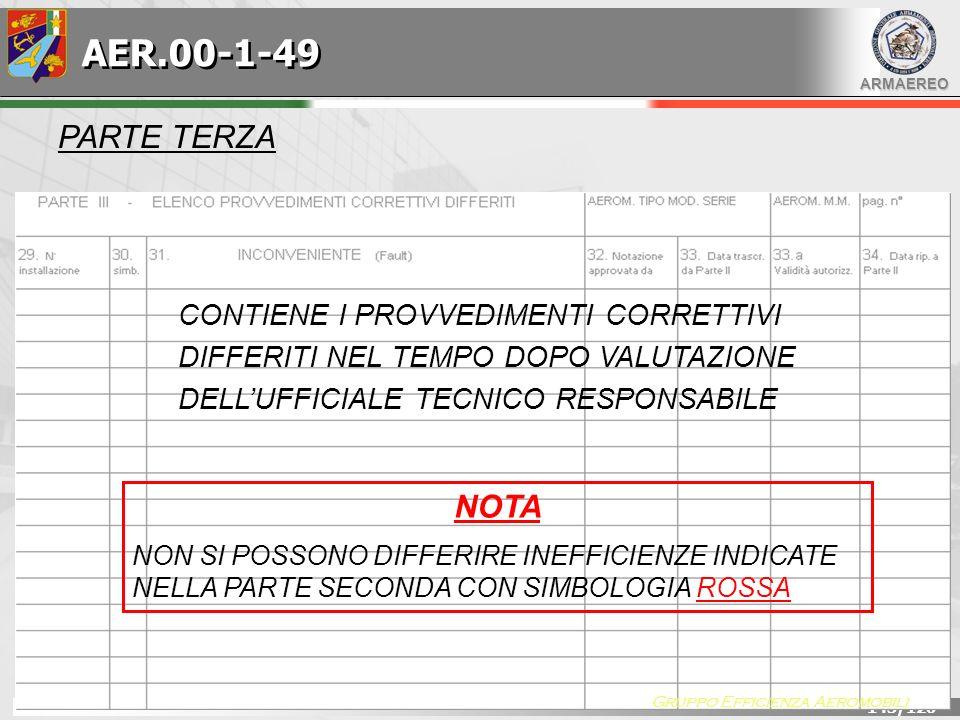 AER.00-1-49 PARTE TERZA. CONTIENE I PROVVEDIMENTI CORRETTIVI DIFFERITI NEL TEMPO DOPO VALUTAZIONE DELL'UFFICIALE TECNICO RESPONSABILE.