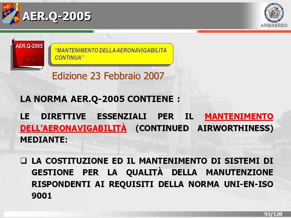 AER.Q-2005 Edizione 23 Febbraio 2007 LA NORMA AER.Q-2005 CONTIENE :