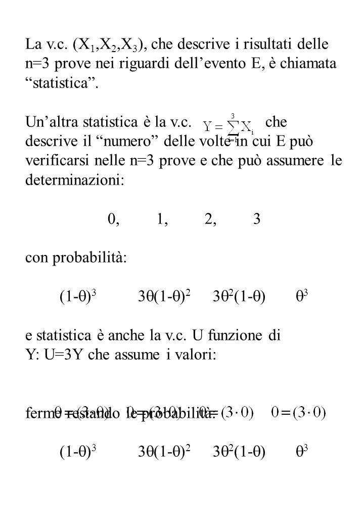 La v.c. (X1,X2,X3), che descrive i risultati delle n=3 prove nei riguardi dell'evento E, è chiamata statistica .