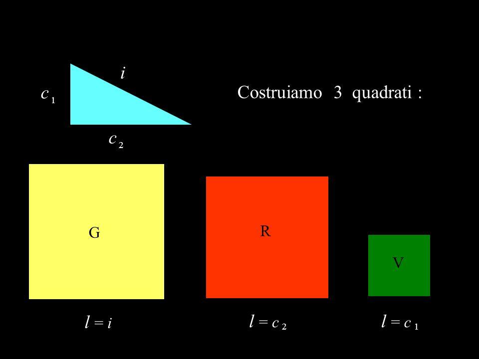i c 1 Costruiamo 3 quadrati : c 2 G R V l = i l = c 2 l = c 1
