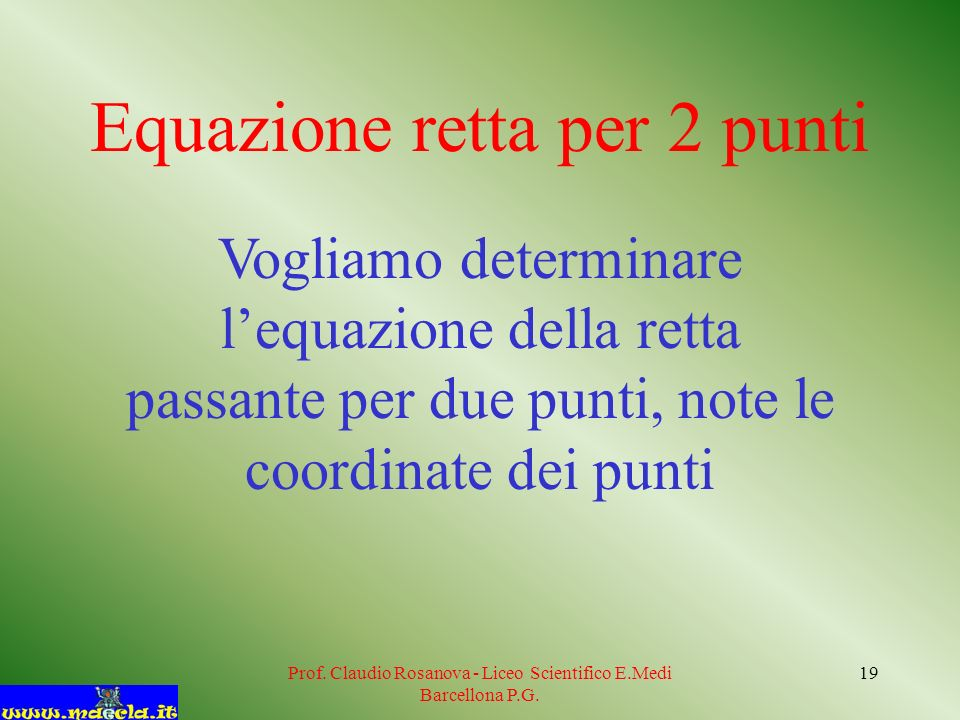 Equazione retta per 2 punti