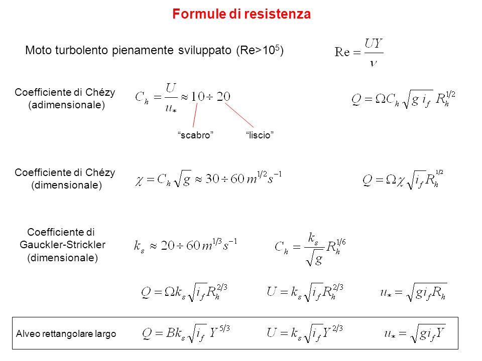 Formule di resistenza Moto turbolento pienamente sviluppato (Re>105) Coefficiente di Chézy. (adimensionale)
