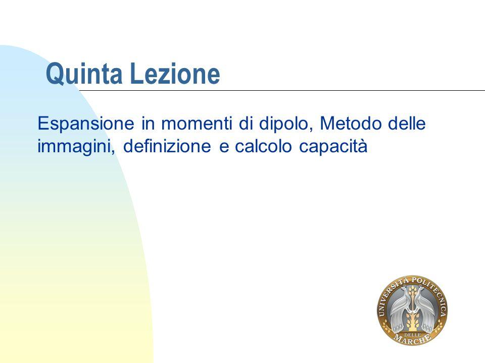 Quinta Lezione Espansione in momenti di dipolo, Metodo delle immagini, definizione e calcolo capacità.