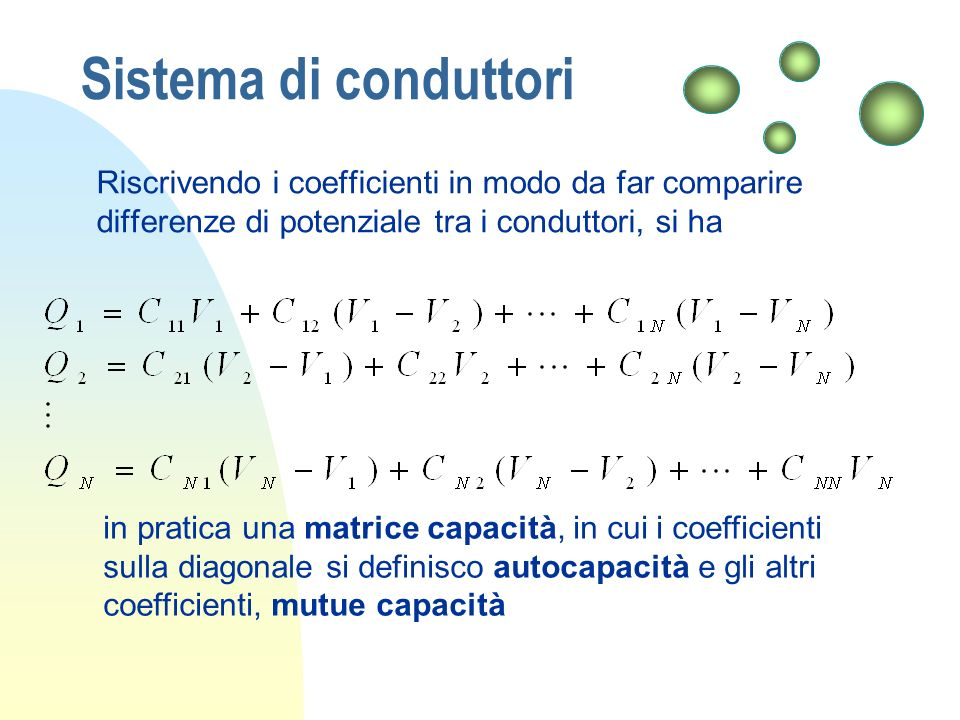 Sistema di conduttori Riscrivendo i coefficienti in modo da far comparire differenze di potenziale tra i conduttori, si ha.
