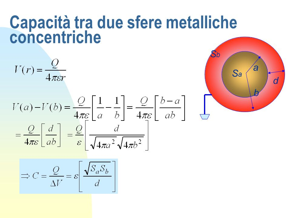 Capacità tra due sfere metalliche concentriche
