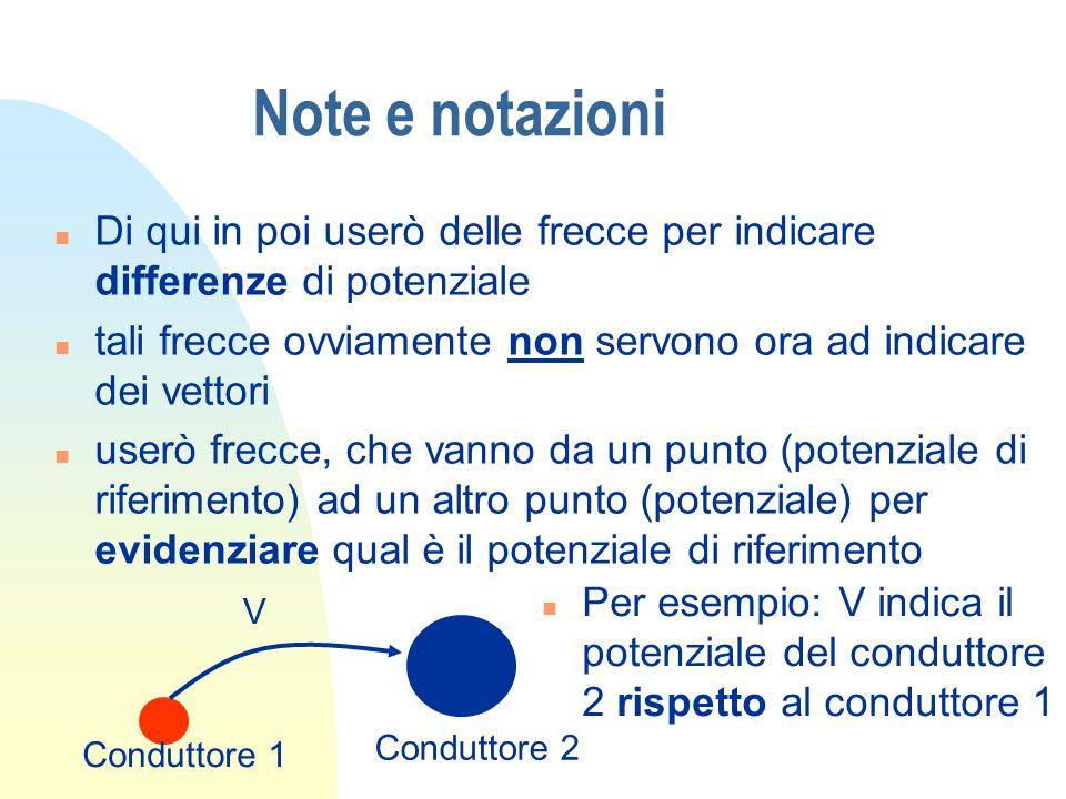 Note e notazioni Di qui in poi userò delle frecce per indicare differenze di potenziale.