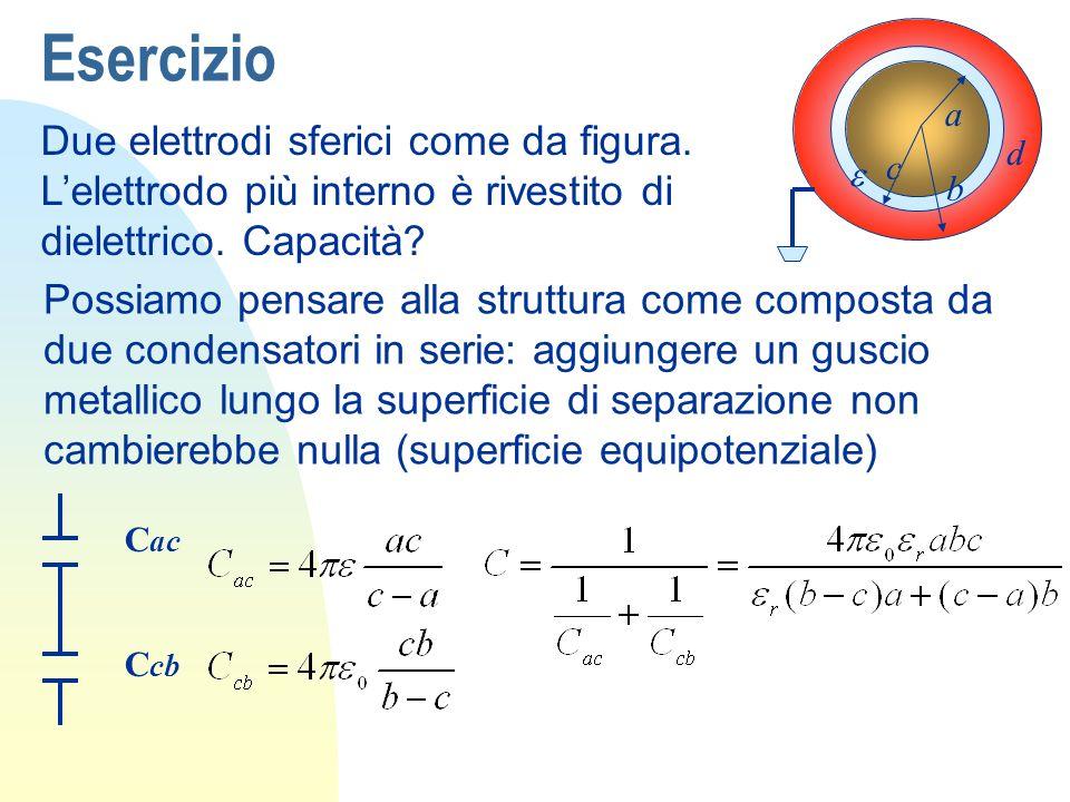 Esercizio Due elettrodi sferici come da figura.