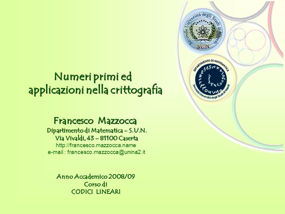 Dipartimento di Matematica – S.U.N. Anno Accademico 2008/09 Corso di