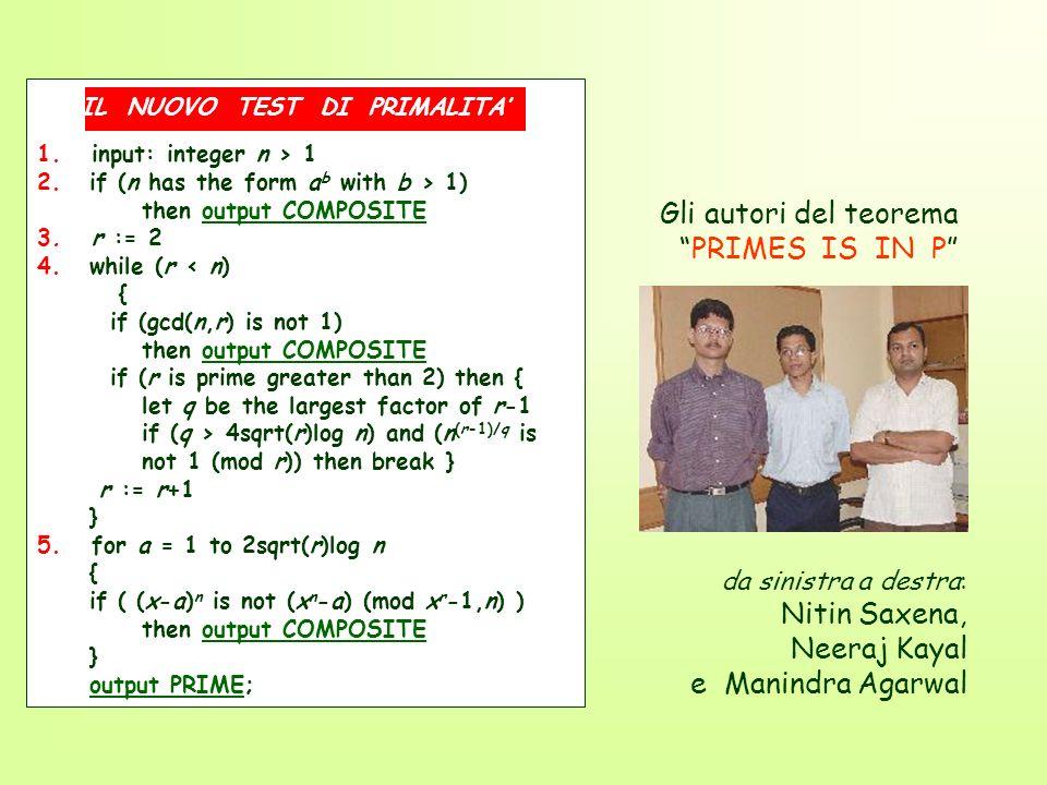 Neeraj Kayal e Manindra Agarwal Gli autori del teorema