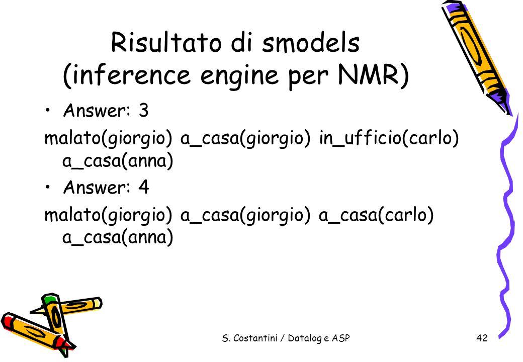 Risultato di smodels (inference engine per NMR)