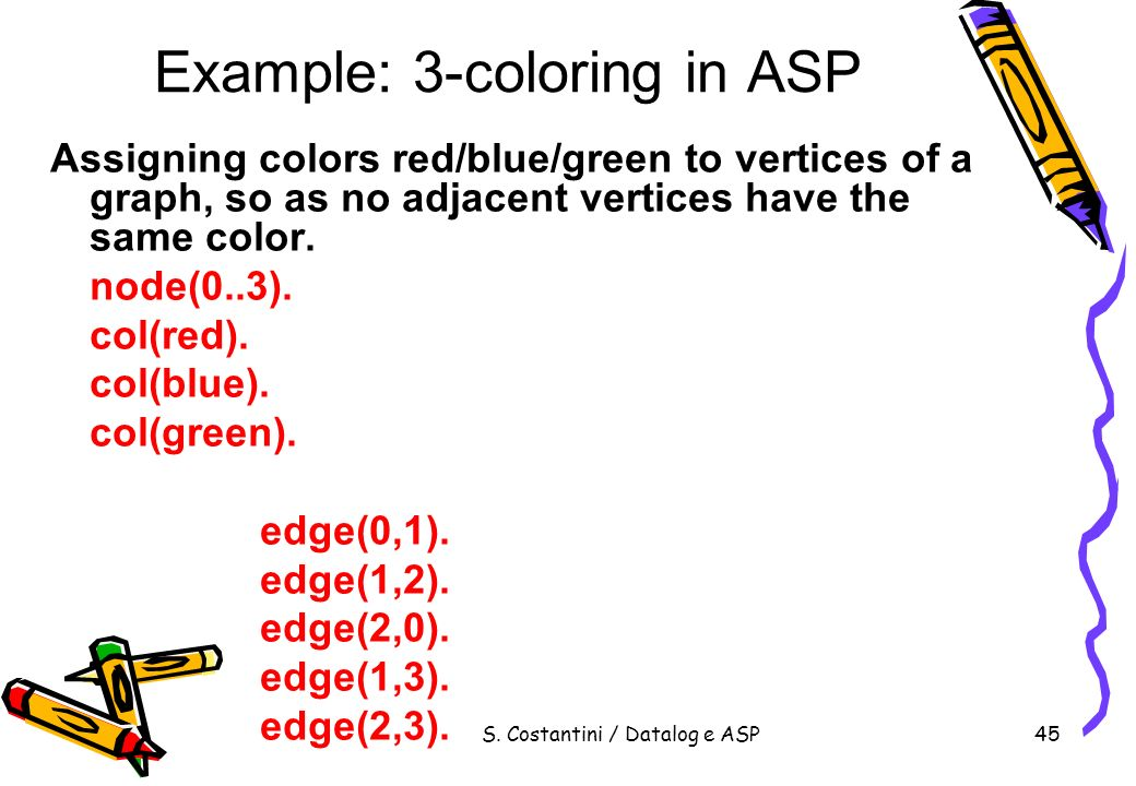 Example: 3-coloring in ASP