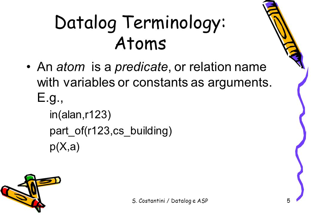 Datalog Terminology: Atoms