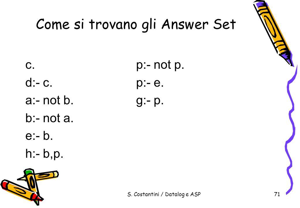 Come si trovano gli Answer Set