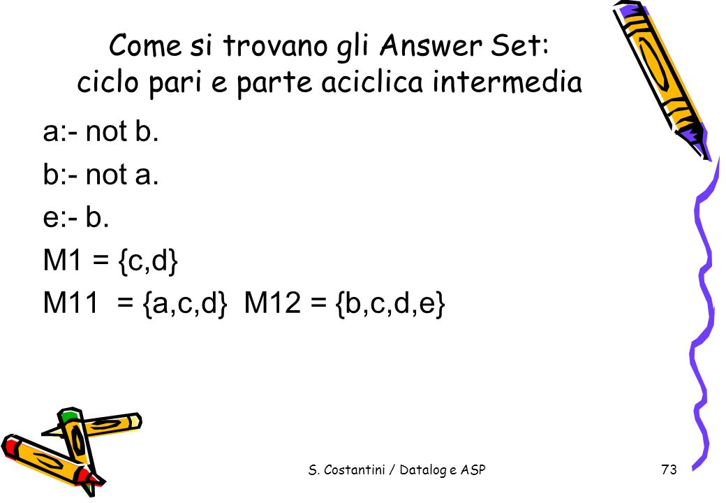 Come si trovano gli Answer Set: ciclo pari e parte aciclica intermedia