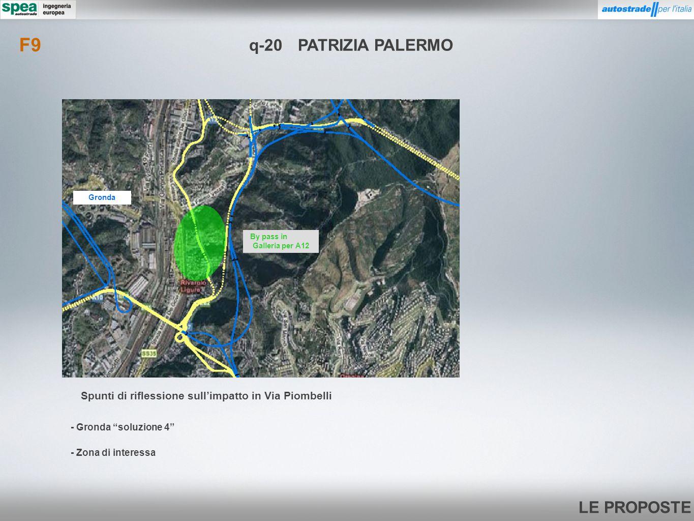 F9 q-20 PATRIZIA PALERMO. Gronda. By pass in Galleria per A12. Spunti di riflessione sull'impatto in Via Piombelli.