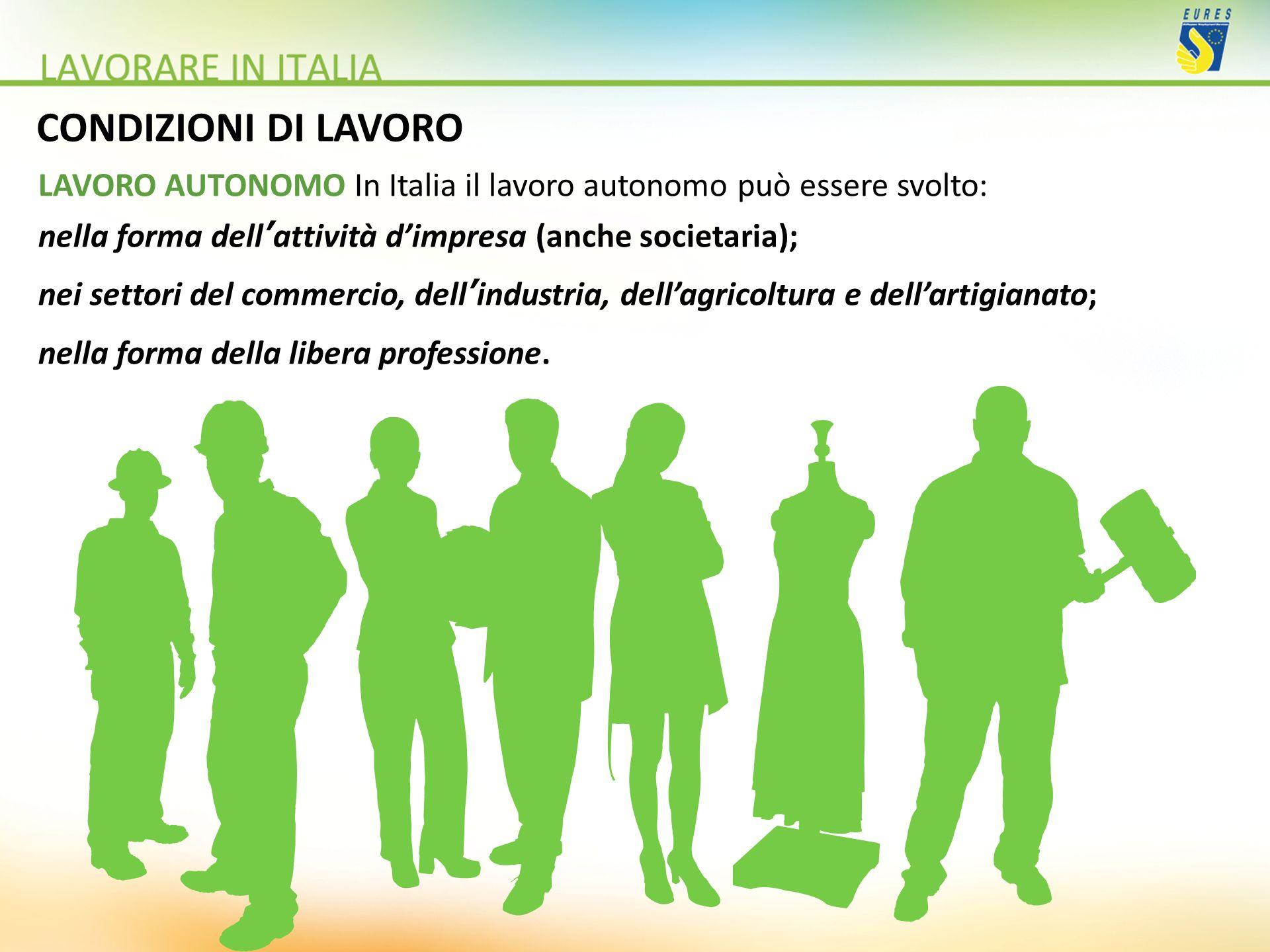 CONDIZIONI DI LAVORO LAVORO AUTONOMO In Italia il lavoro autonomo può essere svolto: nella forma dell'attività d'impresa (anche societaria);