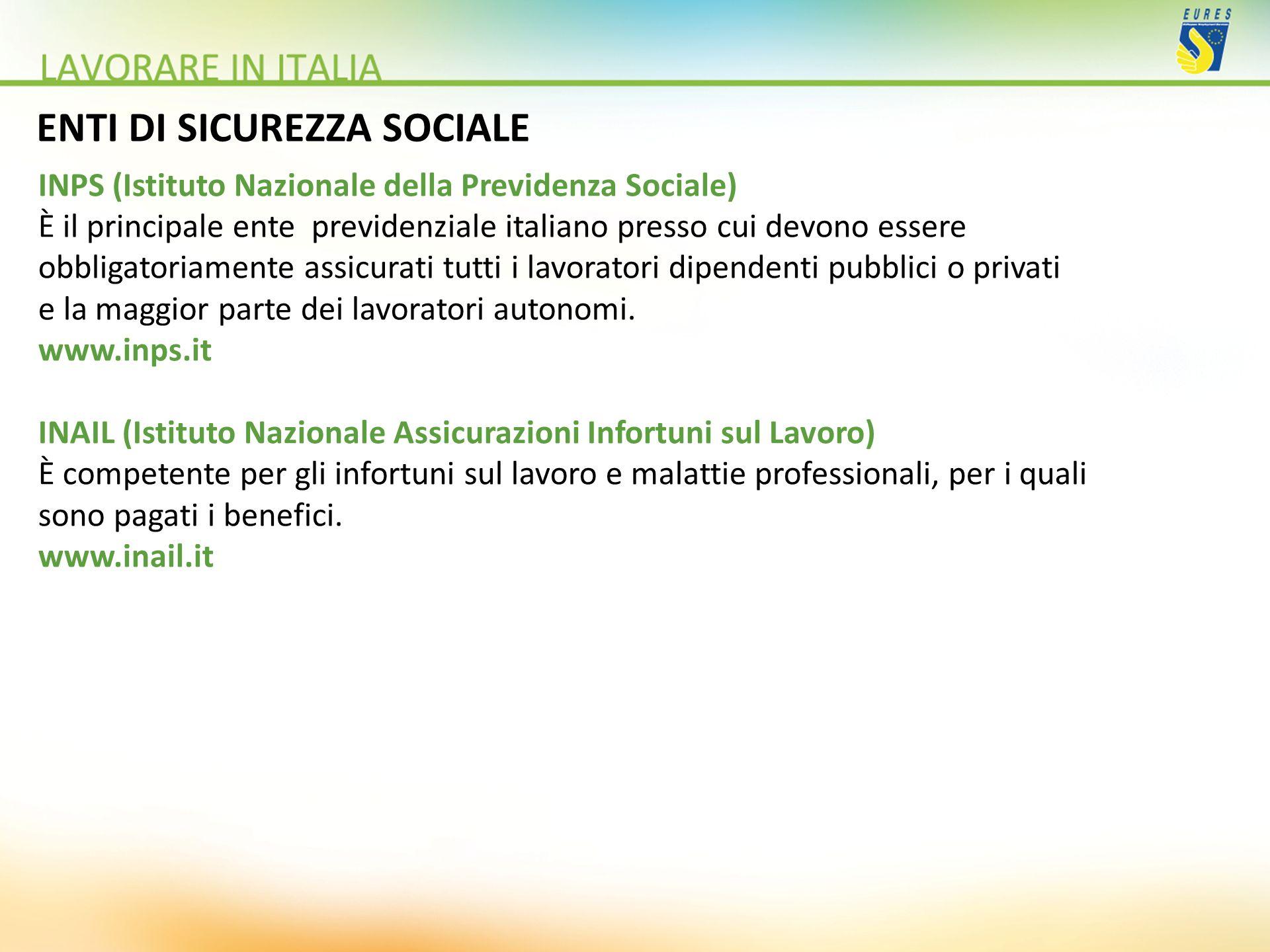 ENTI DI SICUREZZA SOCIALE