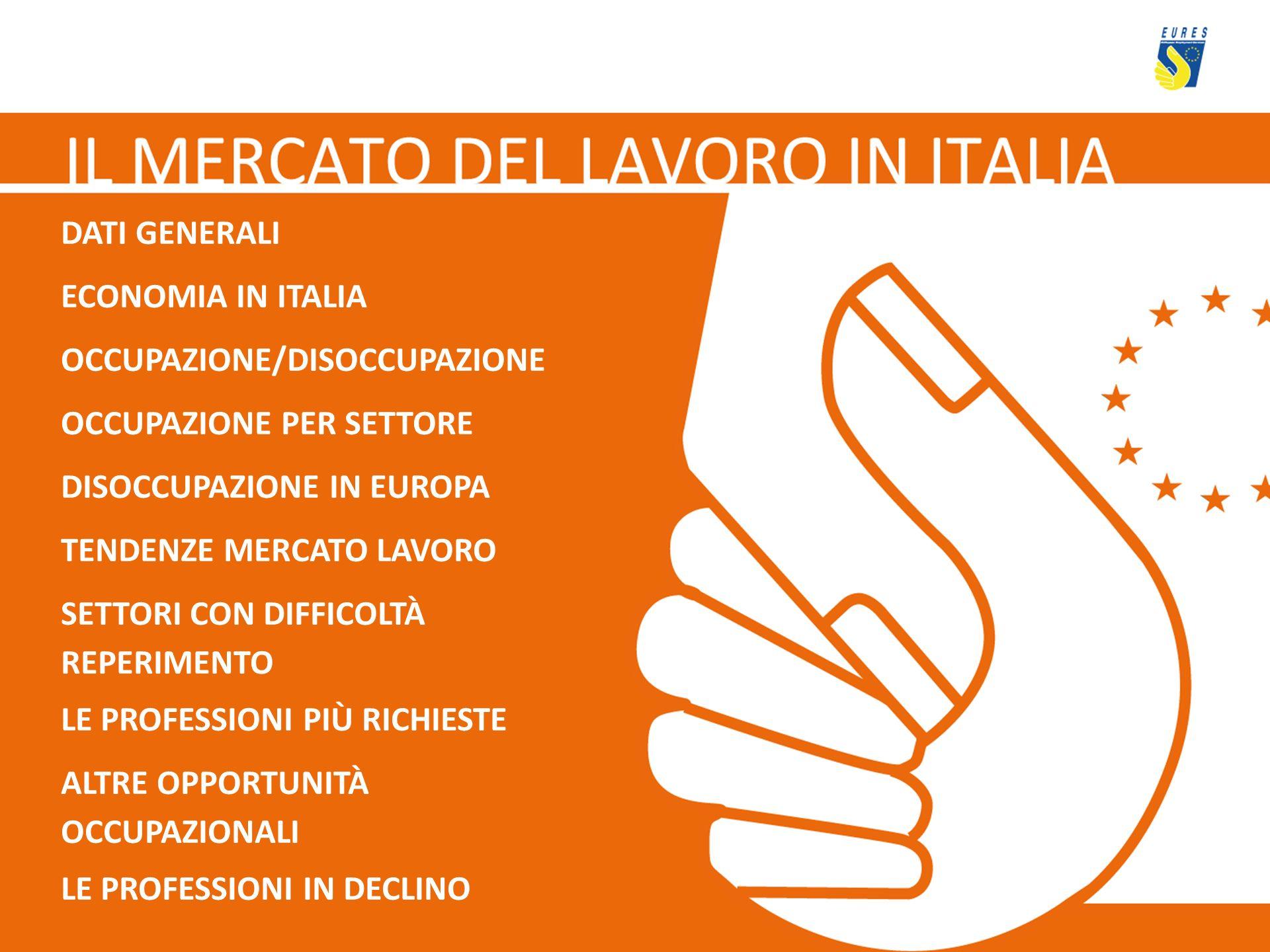 DATI GENERALI ECONOMIA IN ITALIA. OCCUPAZIONE/DISOCCUPAZIONE. OCCUPAZIONE PER SETTORE. DISOCCUPAZIONE IN EUROPA.
