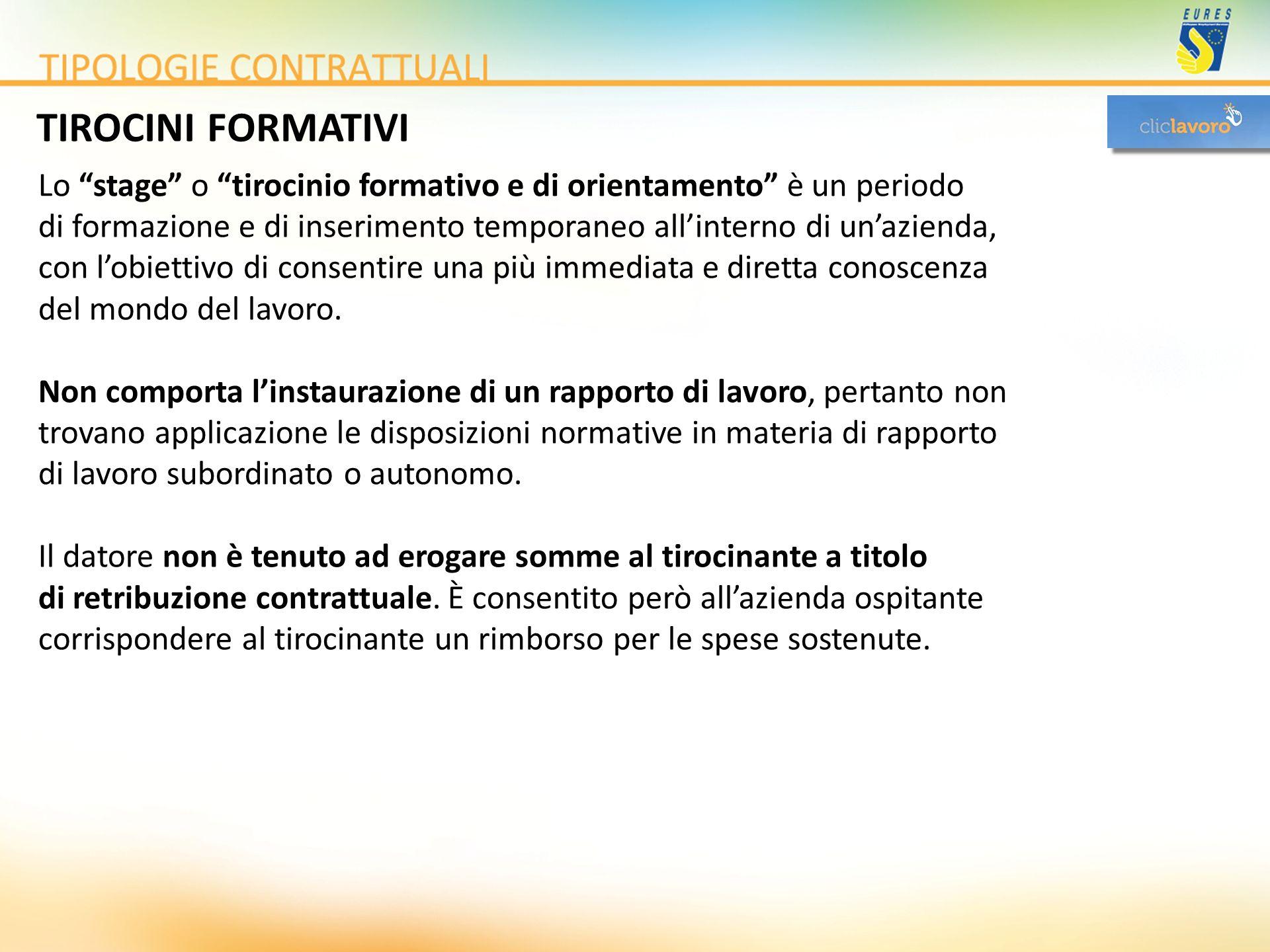 TIROCINI FORMATIVI Lo stage o tirocinio formativo e di orientamento è un periodo.