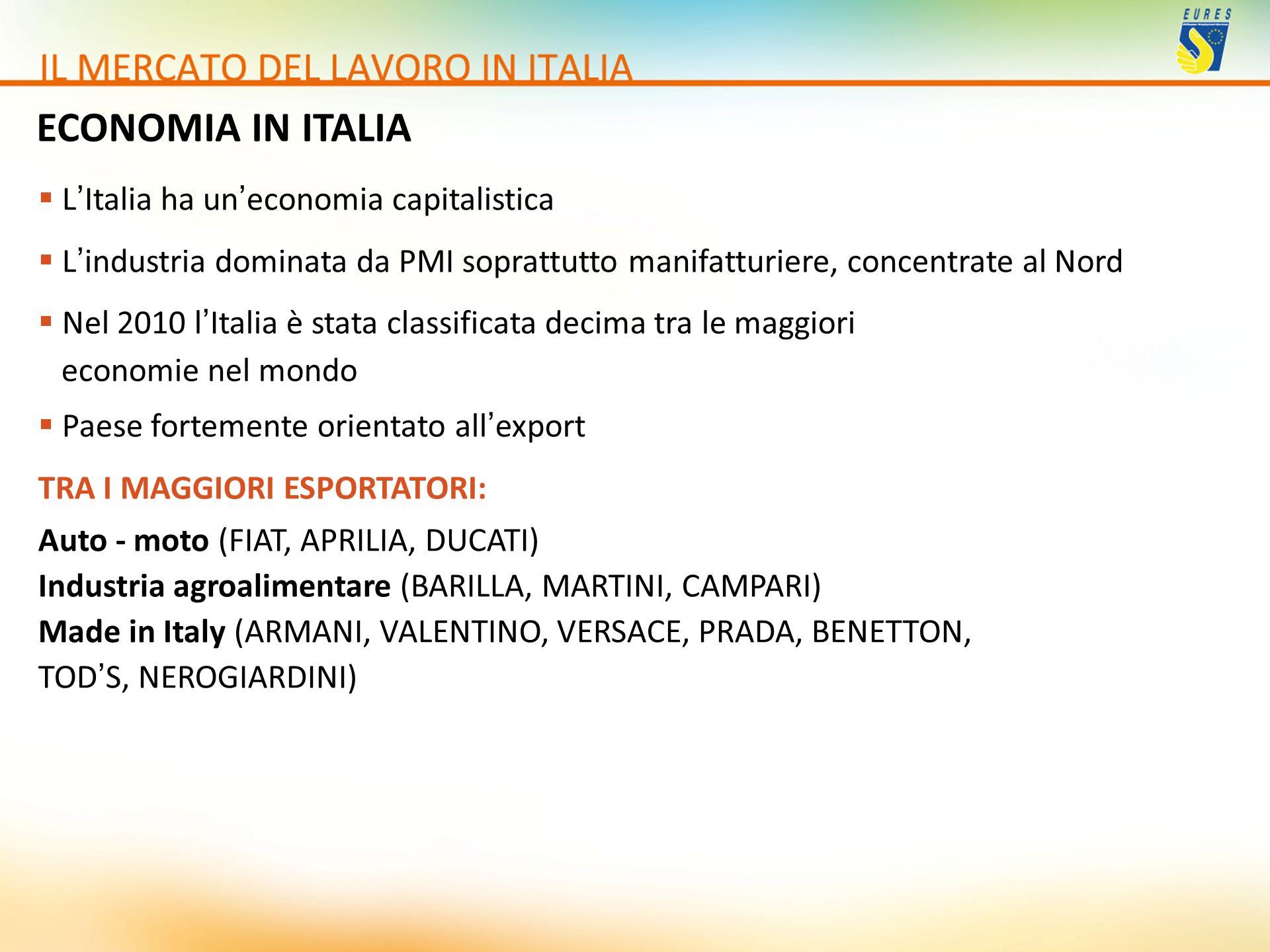 ECONOMIA IN ITALIA L'Italia ha un'economia capitalistica