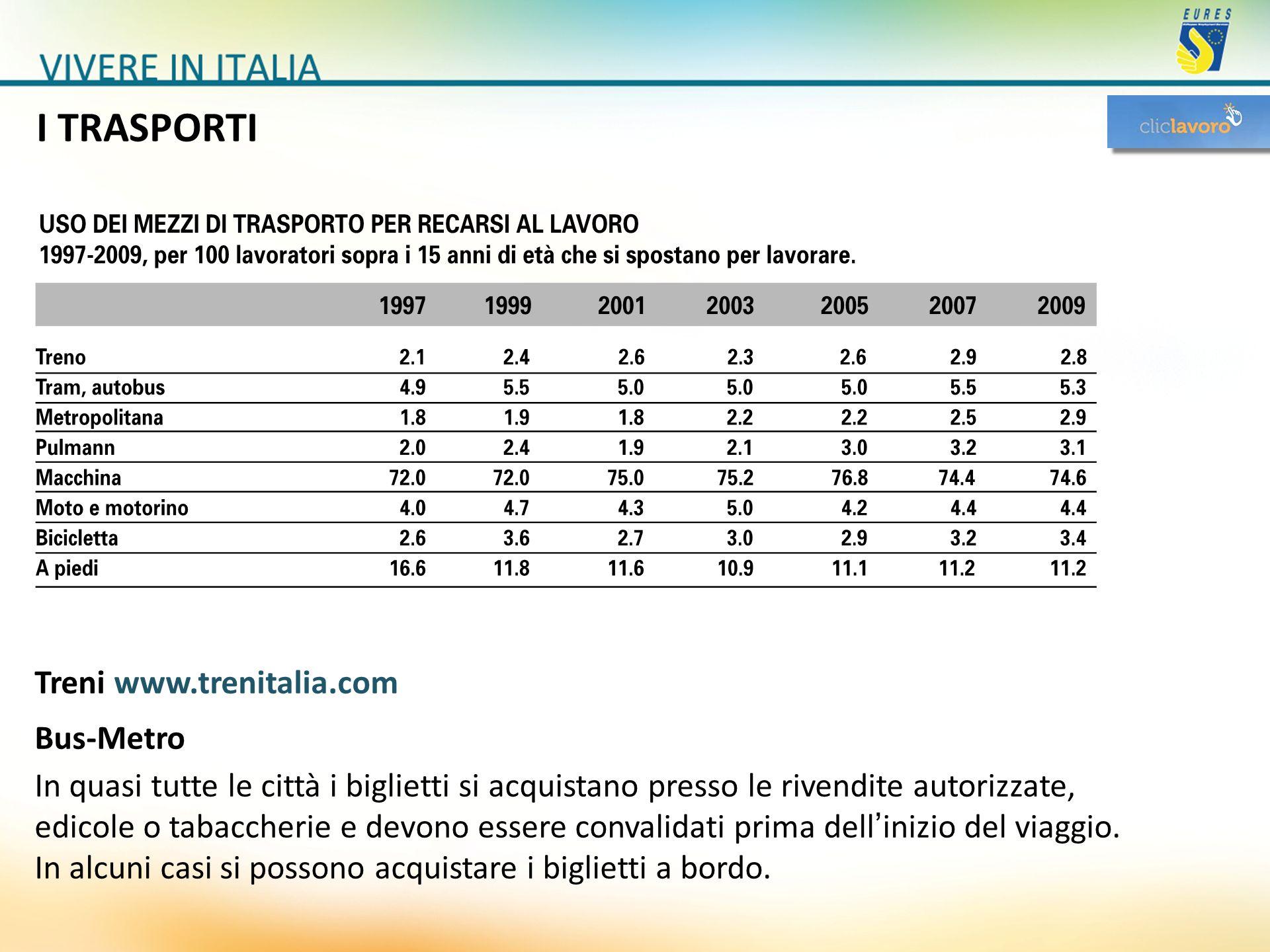 I TRASPORTI Treni www.trenitalia.com Bus-Metro