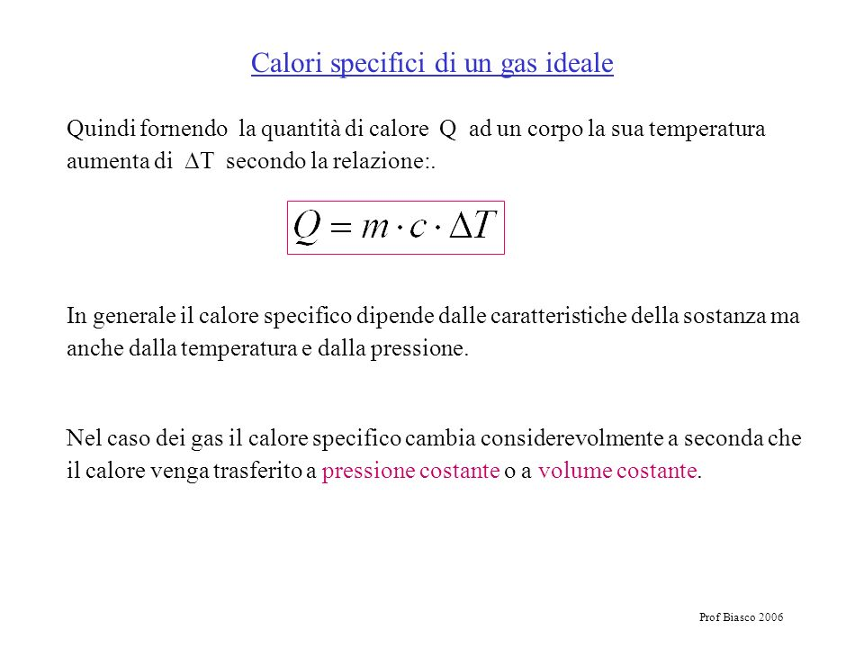 Calori specifici di un gas ideale